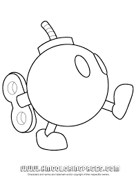 Printable Coloring Pages Mario Characters Mario Kart Bomb Omb
