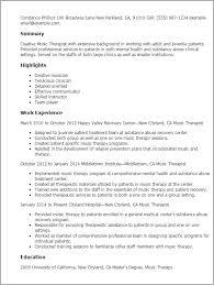 Musician Resume Example Simple Music Therapist Resume Template Best Design Tips MyPerfectResume