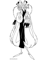 coloring page cruella with puppies