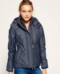 pop zip hooded arctic windcheater jacket mid charcoal marl light c superdry uk mx2345