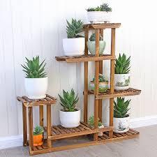 5 tier wood shelf plant stand bathroom rack garden planter pot holder for indoor and outdoor com