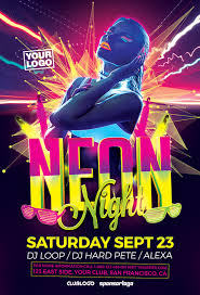 glow flyer neon night flyer template flyer for electro dance and uv glow parties