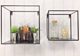 set of two industrial style shelves wall metal unit storage square cubes