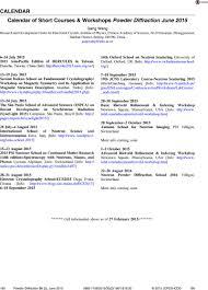 Calendar June July 2015 Calendar Of Short Courses Workshops Powder Diffraction June 2015