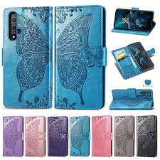 Huawei Nova 5T Case <b>Embossing</b> Butterfly Flip PU Leather Wallet ...