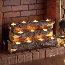 decorative fireplace solid natural wood tea candles
