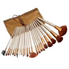 brush set with leather pouch 24