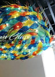 hand blown chandelier glass parts schooling fish