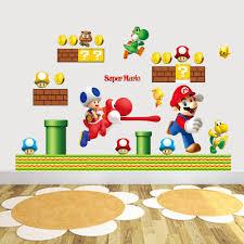 Mario Bedroom Decor Hot Sale New Cartoon Wall Sticker Super Mario Bros Vinyl Removable