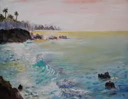 crescent bay laa beach painting 249 oil on canvas
