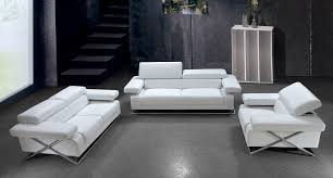 Linx Modern White Leather Sofa Set Living Room