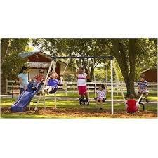 backyard fun flexible flyer kids metal outdoor playground slide swing set new