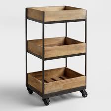shelf wooden gavin rolling cart  world market