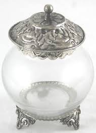 Decorative Jars With Lids Small Decorative Glass Jar With Distressed Metal Lid And Feet 30