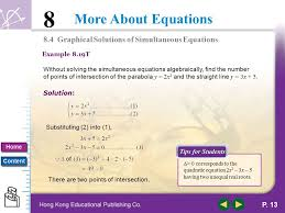 8 4 graphical solutions of simultaneous equations