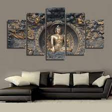Wall canvas art print painting poster 5 panel buddha wall modular picture for home decor painting kids room frames. Buy 5pcs Buddha Statue Canvas Painting 5 Panel Wall Art Homaura