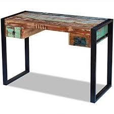 rustic wood office desk. Plain Wood VidaXL Solid Reclaimed Wood Office Desk Table Handmade 2 Drawers Rustic  100x50x77 Cm Intended E