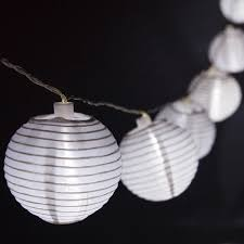 Solar lantern string lights Pendant Yard Envy White Nylon Solar Lantern String Yard Envy