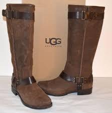 new 275 ugg australia w dree dark chestnut brown tall leather harness boot