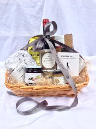 A typical $100 wine and cheese gift basket.
