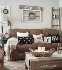 brown couch farmhouse living room decor