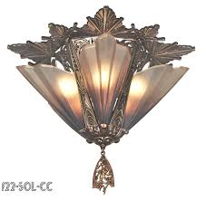 art deco close ceiling flush mount chandeliers 5 light soleure series by mid west 122