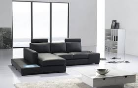divani casa t35 mini modern black eco leather sectional sofa with light by vig furniture