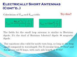 electrically short antennas cont d