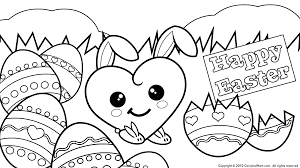 Bunny Cute Love Is All Around Happy Easter Coloring Pages
