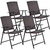 wicker folding chairs. TANGKULA 4 PCS Folding Patio Chair Set Outdoor Pool Lawn Portable Wicker With Armrest \u0026 Chairs L