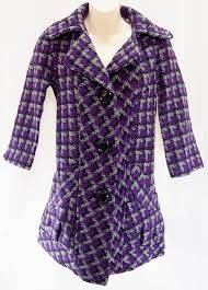tulle purple houndtooth long trench peacoat coat jacket size xs