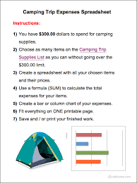 Excel Camping Trip Expense Chart K 5 Computer Lab
