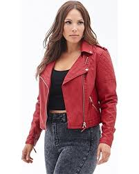 Snag This Hot Sale! 50% Off FOREVER21 PLUS Women's Red Plus Size ... & FOREVER21 PLUS Women's Red Plus Size Quilted Faux Leather Jacket Adamdwight.com