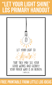 Let Your Light Shine Lds Primary
