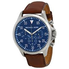 michael kors gage chronograph blue dial men s watch mk8362