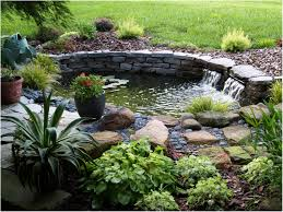 Diy Pond Backyards Wonderful Simple Pre Formed Pond With Waterfall 66 Diy
