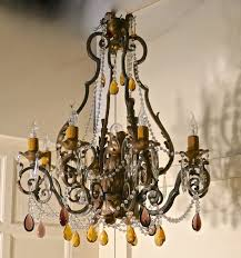 very large french wrought iron gilt 8 branch chandelier