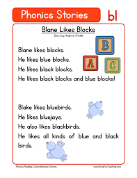 Reading comprehension worksheets for preschool and kindergarten. Blane Likes Blocks Bl Phonics Stories Reading Comprehension Worksheet Have Fun Teaching