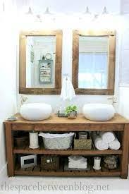 Diy Wood Vanity In The Master Bathroom The Space Between Rustic Bathroom Vanities Rustic Master Bathroom Rustic Bathroom
