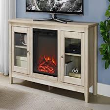 details about we furniture 58 wood media tv stand console with fireplace white oak