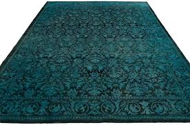 wool rug black and white felted reserve damask teal