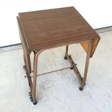 vintage 70s furniture. Vintage 70s Rolling Typewriter Table Hi Lo Wood Grain Drop Leaf Top #UnbrandedGeneric Furniture