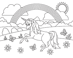 Posted in nature coloring pages. Kids Rainbow Unicorn Coloring Page Painting By Crista Forest