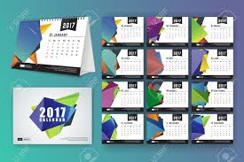 Calender Design Template 12 Month Desk Calendar Template For Print Design With Abstract