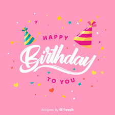 Happy Birthday Lettering With Pink Background Vector Free