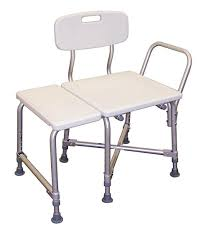 extended white shower chair with back photo