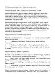 responsive essay useful and effective guidelines for  responsive essay useful and effective guidelines for writing