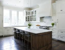 Neutral Kitchen Chocolate Brown Wooden Island Using Marble Countertop For Classic