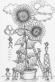 ペン画イラストひまわり 向日葵ヒマワリ鉢植え植物夏の