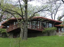 Appealing Design Frank Lloyd Wright Prairie Style House With Brown    Appealing Design Frank Lloyd Wright Prairie Style House With Brown Wooden Wall And Wooden Decks Also Combine With Large Glass Windows Also Bricks Stone